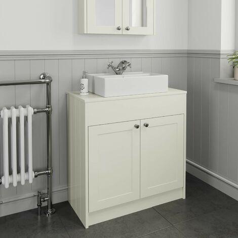800mm Cream Traditional Vanity Unit Countertop Basin Bathroom Furniture