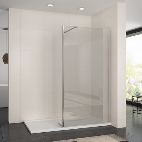 800mm Easy Clean Walk In Wetroom Shower Screen Enclosure 8mm Glass Shower Screen Panel with 300mm Flipper Panel