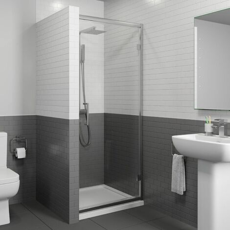 800mm Framed Hinged Bathroom Shower Door Enclosure Walk-In 8mm Safety Glass