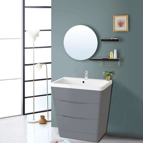 800mm Gloss Grey 2 Drawer Floor Standing Bathroom Cabinet Storage Furniture Vanity Sink Unit