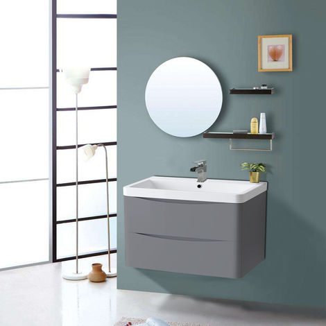 800mm Gloss Grey 2 Drawer Wall Hung Bathroom Cabinet Vanity Sink Unit with Basin