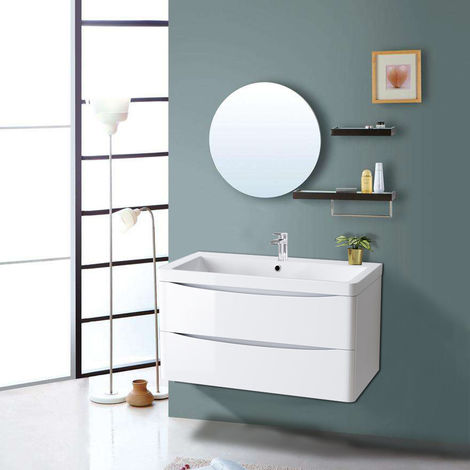 800mm Gloss White 2 Drawer Wall Hung Bathroom Cabinet Vanity Sink Unit with Basin