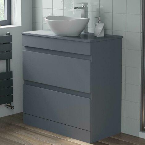 800mm Grey Bathroom Furniture Countertop Vanity Unit Oval Basin