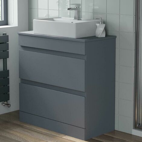 800mm Grey Bathroom Furniture Countertop Vanity Unit Rectangular Basin