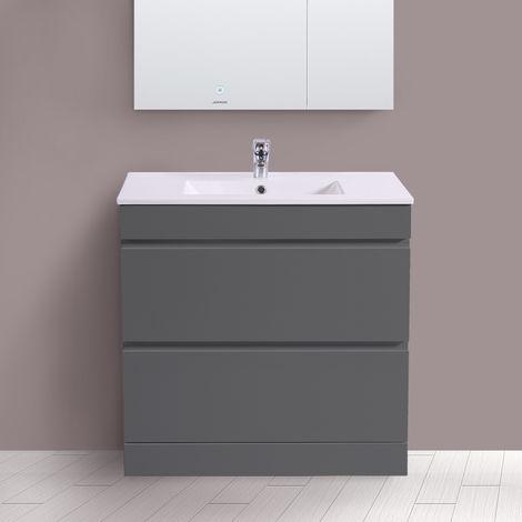 800mm Grey Bathroom Vanity Unit Basin Floor Standing 2 Drawer Cabinet Furniture