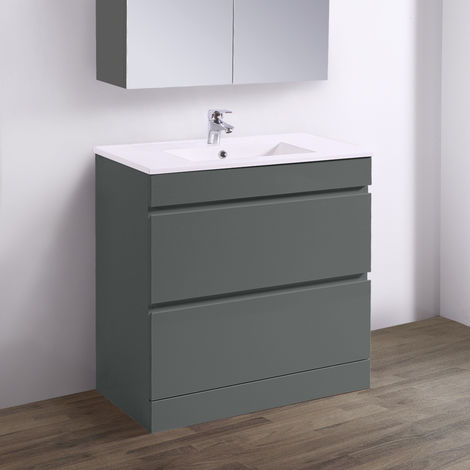 "main image of ""Floor Standing Vanity Sink Unit Ceramic Basin Bathroom 2 Drawer Storage Furniture"""