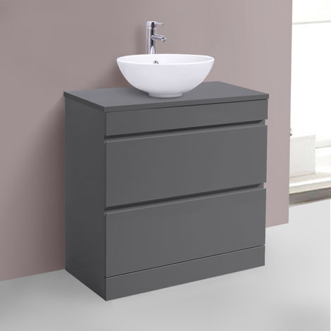800mm Grey Floor Standing Vanity Sink Unit Countertop Basin Bathroom 2 Drawer Storage Furniture