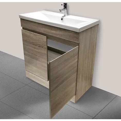 800mm Grey Oak Effect Bathroom Vanity Unit Basin Storage Cabinet Furniture