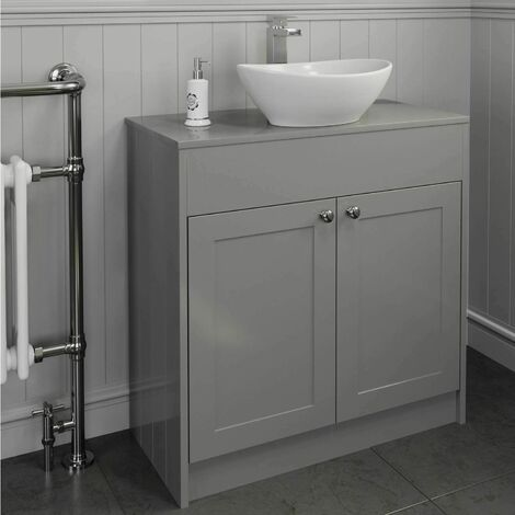 "main image of ""800mm Grey Traditional Vanity Unit Countertop Bathroom Furniture Round Basin"""