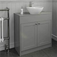 800mm Grey Traditional Vanity Unit Countertop Bathroom Furniture Round Basin