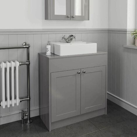 800mm Grey Traditional Vanity Unit Countertop Rectangle Basin Bathroom Furniture