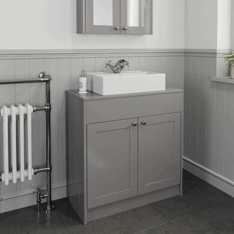 "main image of ""800mm Grey Traditional Vanity Unit Countertop Rectangle Basin Bathroom Furniture"""