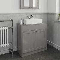 800mm Grey Traditional Vanity Unit Countertop Rectangle Basin Bathroom Furniture