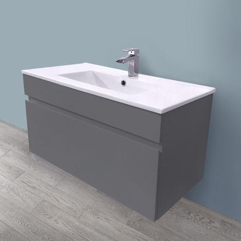 800mm Grey Vanity Unit Ceramic Sink Basin Bathroom Drawer Storage Furniture
