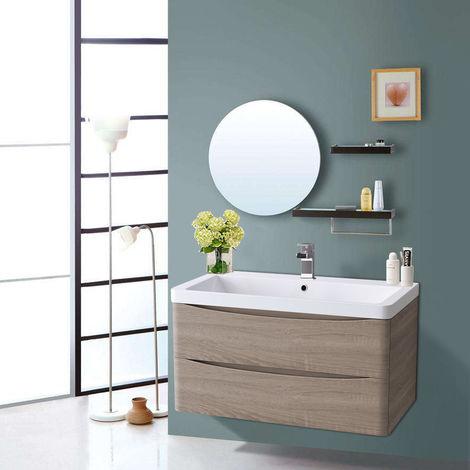 800mm Light Oak Effect 2 Drawer Wall Hung Bathroom Cabinet Vanity Sink Unit with Basin