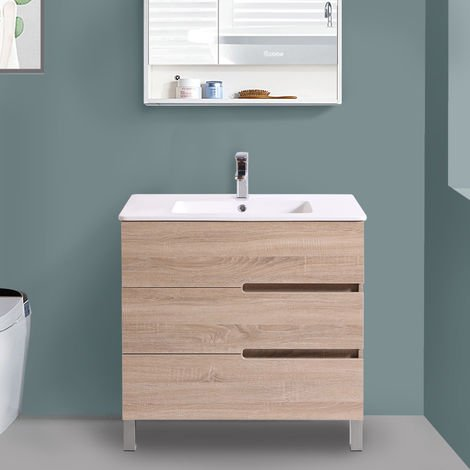 800mm Light Oak Floor Standing 3 Drawer Vanity Unit Basin Bathroom Furniture