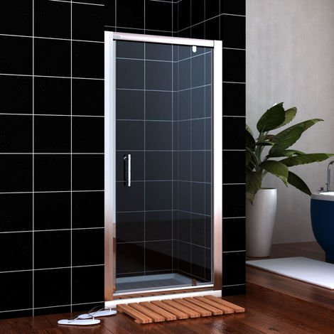 800mm Pivot Door Hinge Shower Enclosure Glass Screen + 1400 x 800 mm Stone Tray Waste