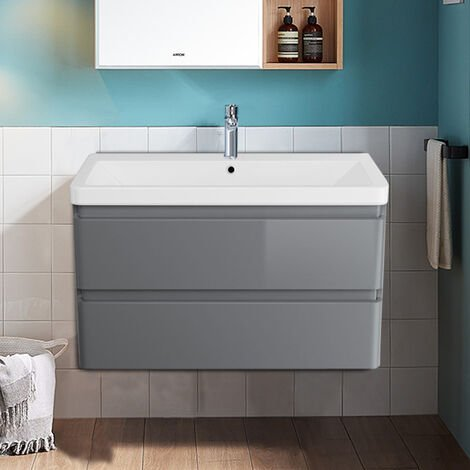 800mm Wall Hung 2 Drawer Vanity Unit Basin Storage Bathroom Furniture Gloss Grey