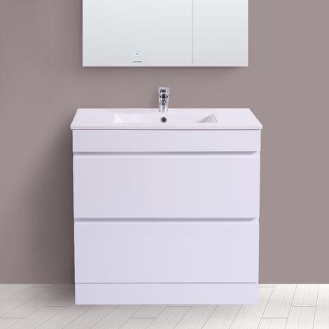 800mm White Bathroom Vanity Unit Basin Floor Standing 2 Drawer Cabinet Furniture