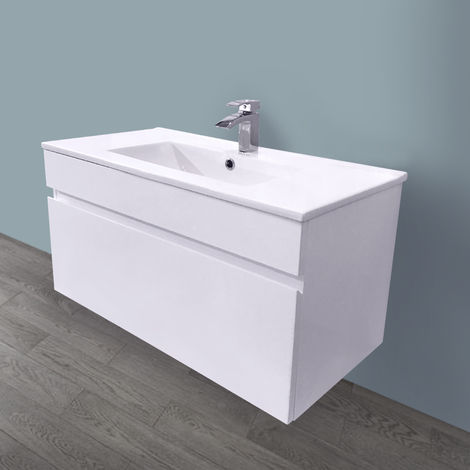 800mm White Vanity Unit Ceramic Sink Basin Bathroom Drawer Storage Furniture
