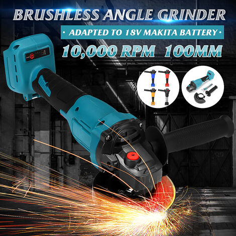 800W 100mm Brushless Cordless Angle Grinder Multifunction Polisher Cutting Tool for Makita 18V Battery (Gray)