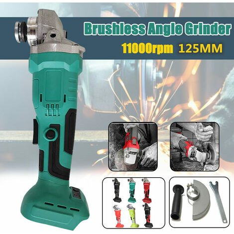 800W 18V lithium battery brushless angle grinder polishing machine sander cutting machine 125mm angle grinder for Makita battery (not included) bare metal