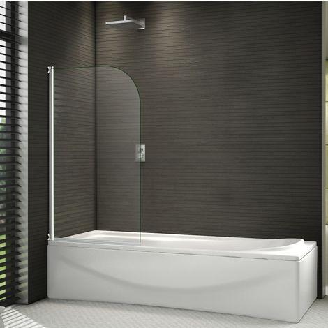 "main image of ""800x1400mm 180°Pivot Shower Bath Screen Tempered Glass Door Panel,Towel Rail Optional"""