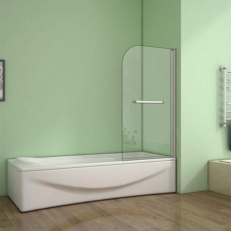 "main image of ""800x1400mm Single Pivot Shower Bath Screen Glass Panel Towel Rail"""