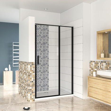 """main image of """"1850mm Height BLACK New Frame Pivot Shower Door Enclosure Walk in Safety Glass Screen Cubicle"""""""
