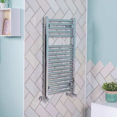 800x450 Straight Central Heating Towel Rail Bathroom Heated Rad Radiator Chrome