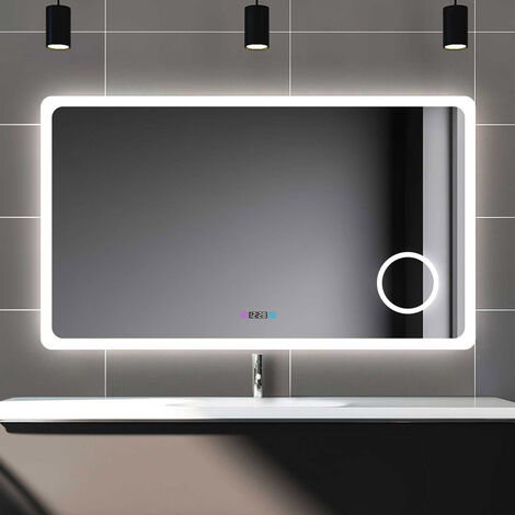 """main image of """"800x600mm Backlit Illuminated Bluetooth Bathroom Mirror with Demister, Wall Mounted Multifunction LED Bathroom Vanity Mirror with 2 Colour Lights + 3-Fold Magnification"""""""