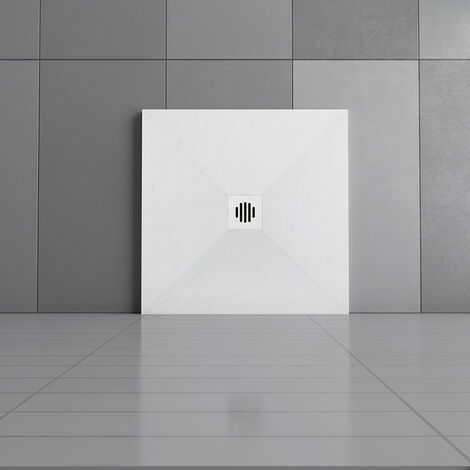 """main image of """"AICA Anti-Slip Slate Effect Rectangle/Square Shower Tray & Base +Waste Trap"""""""