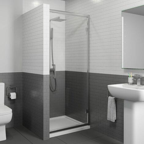 800x800mm Framed Hinged 8mm Bathroom Shower Door Enclosure Walk-In Tray Waste