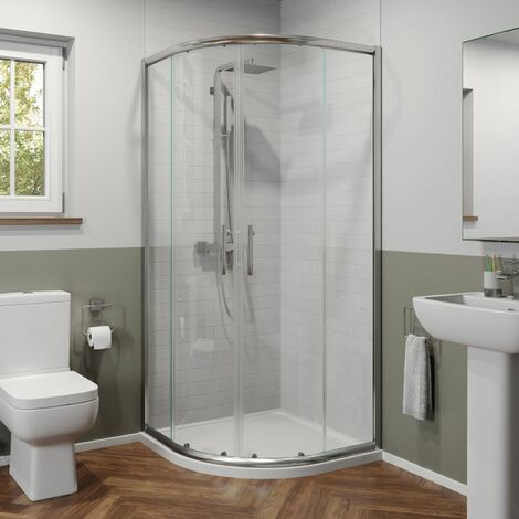800x800mm Quadrant Shower Enclosure 6mm Glass Walk In Cubicle Framed Tray Waste
