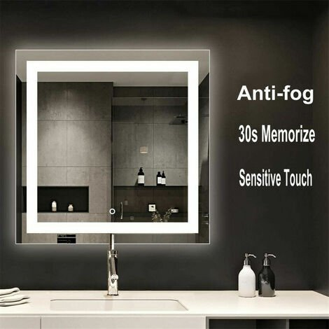 800x800mm Splendent Cube LED Bathroom Mirror with Lights IP65 Demister Touch