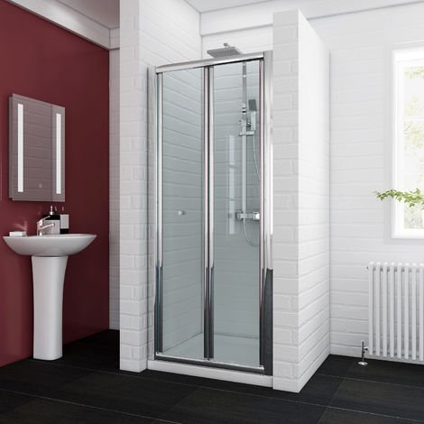 800x900mm Bifold Shower Enclosure Reversible Folding Glass Shower Cubicle Door with Shower Tray Set