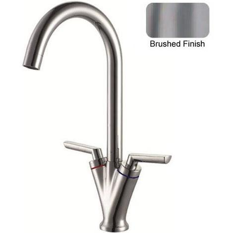 8026 Matt Brushed 2 Lever Swivel Spout Kitchen Sink Mixer Tap Sturdy Quality