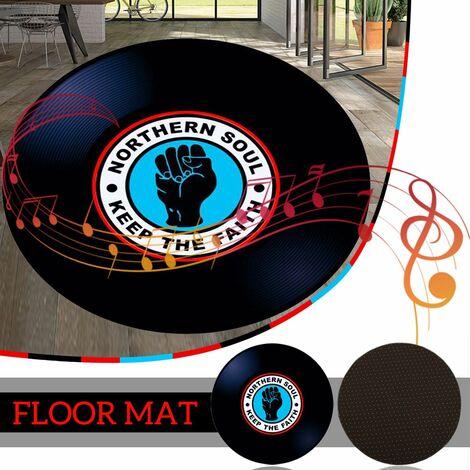 80cm modern vinyl record floor mat round carpet yoga mat living room area home decor (80cm 3 pattern)