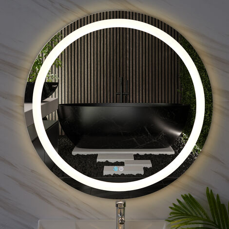 80cm Round LED Dimmable Bathroom Mirror Make Up Light Up Touch Sensor Wall Mount