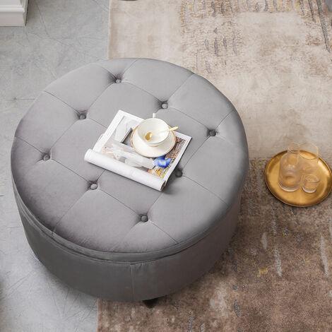 80CM Round Velvet Storage Footstool