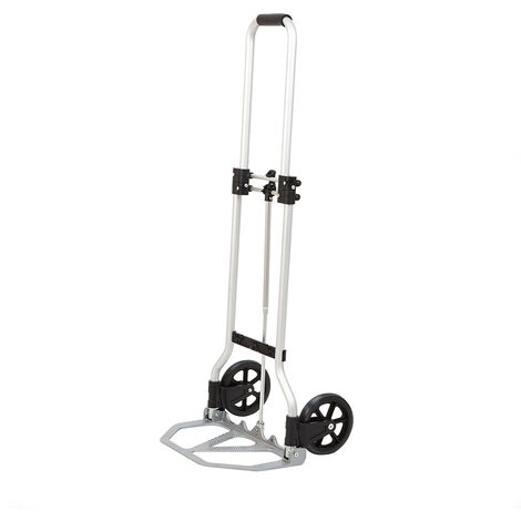 80kg Folding Hand Trolley Sack Truck Barrow Cart Pulley Adjustable Handle Height
