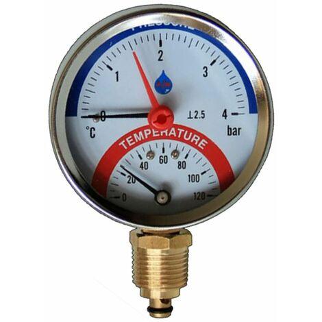 """80mm 10 bar manomètre de température entrée latérale 120c 1/2 """"bsp thermomanomètre"""