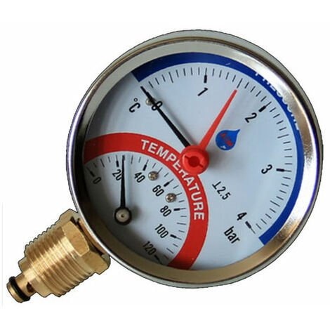 """80mm 6 bar manomètre de température entrée latérale 120c 1/2 """"bsp thermomanomètre"""
