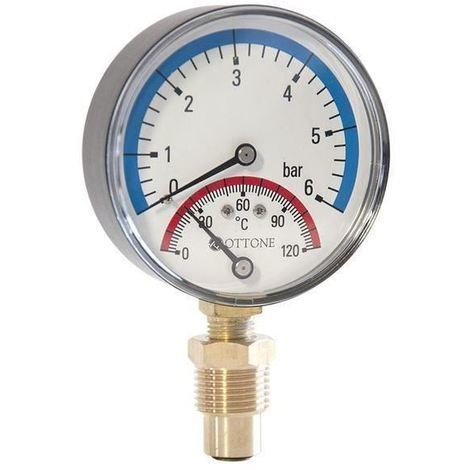 "80mm 6bar 120C Thermo Pressure Gauge 1/2"" inch Side Entry Thermomanometer"