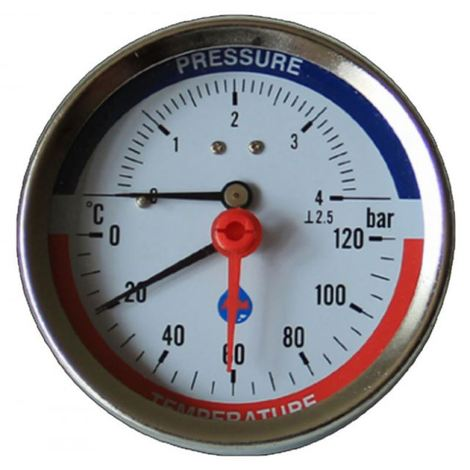 80mm Dial 0-120c 0-4 Bar Rear Entry Temperature Pressure Gauge 1/2inch Bsp Thermomanometer