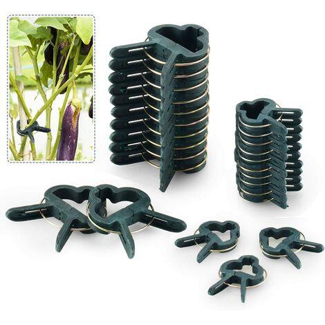 80PCS Clips de Support Réglable pour Plantes Caches de Tuteurs de Jardin Structure de Support Attache pour Jardin, Vigne, Légumes, Tomates(40 Grands Clips et 40 Petits Clips)