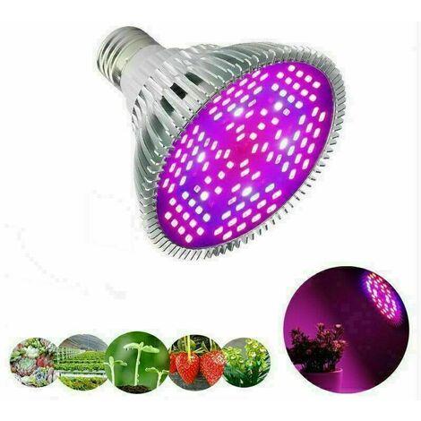 80W Ampoule LED de Croissance à Spectre Complet 120 LEDs Lampe HorticoleLampe pour Plante pour Plantes, Sunlike Plante D'intérieur élèvent des Fleurs de Ampoules de Lumières pour Serre Jardin,Facile à utiliser