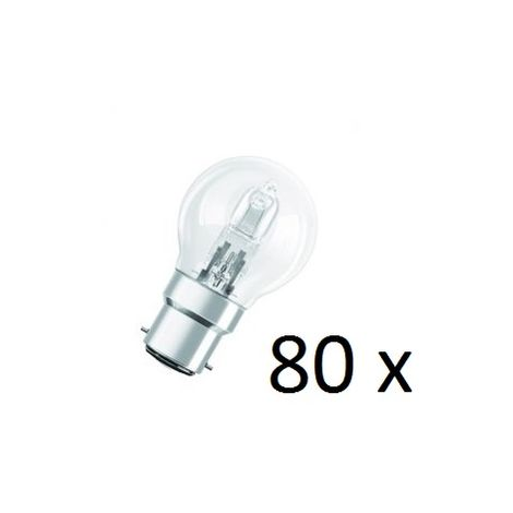 80x Osram Halogen BC-B22 Eco Classic 42W Energy Saver Golf Ball Shape Light Bulb