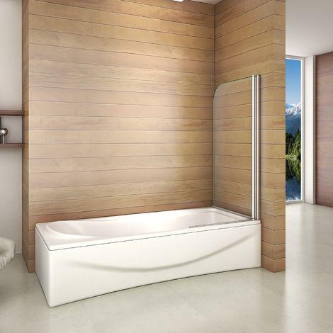 80x140cm Porte Pare baignoire pivotant 180°, écran de baignoire, 6mm verre trempé anticalcaire