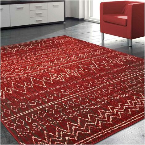 80x150 - UN AMOUR DE TAPIS - Tapis Moderne pour Salon Design Scandinave Berbere Ethnique - Petit Tapis Salon Rouge